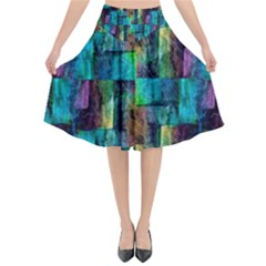 Abstract Square Wall Flared Midi Skirt