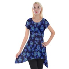 Autumn Leaves Motif Pattern Short Sleeve Side Drop Tunic by dflcprintsclothing