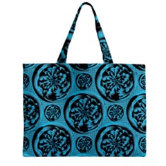 Turquoise Pattern Zipper Mini Tote Bag by linceazul