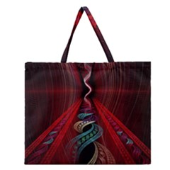 Artistic Blue Gold Red Zipper Large Tote Bag by Mariart