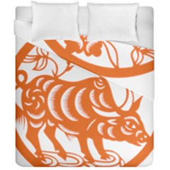 Chinese Zodiac Cow Star Orange Duvet Cover Double Side (california King Size) by Mariart