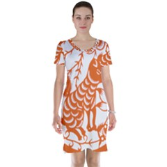 Chinese Zodiac Dog Star Orange Short Sleeve Nightdress by Mariart