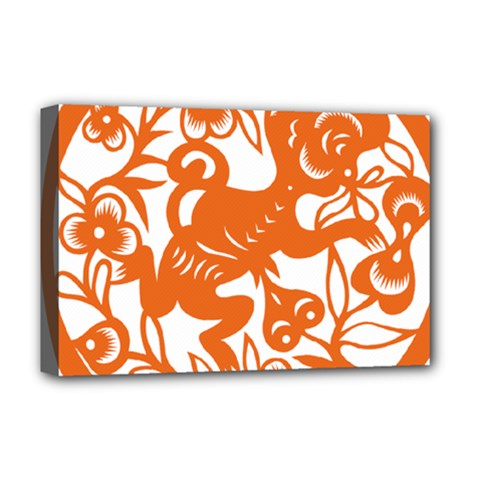 Chinese Zodiac Horoscope Monkey Star Orange Deluxe Canvas 18  X 12   by Mariart
