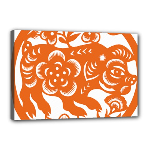 Chinese Zodiac Horoscope Pig Star Orange Canvas 18  X 12  by Mariart