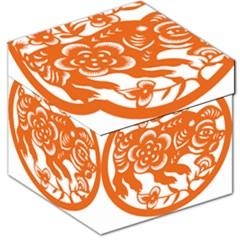 Chinese Zodiac Horoscope Pig Star Orange Storage Stool 12   by Mariart