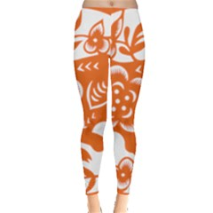 Chinese Zodiac Horoscope Pig Star Orange Leggings  by Mariart