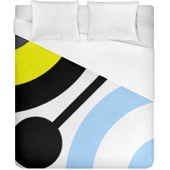 Circle Line Chevron Wave Black Blue Yellow Gray White Duvet Cover (california King Size) by Mariart