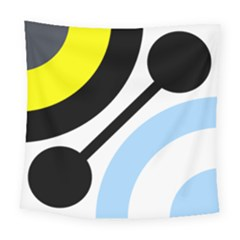 Circle Line Chevron Wave Black Blue Yellow Gray White Square Tapestry (large) by Mariart
