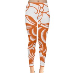 Chinese Zodiac Horoscope Rabbit Star Orange Leggings  by Mariart