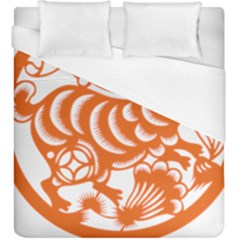 Chinese Zodiac Horoscope Rabbit Star Orange Duvet Cover (king Size) by Mariart