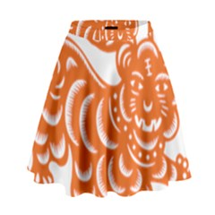Chinese Zodiac Signs Tiger Star Orangehoroscope High Waist Skirt by Mariart