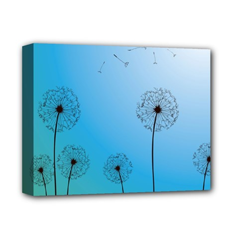 Flower Back Blue Green Sun Fly Deluxe Canvas 14  X 11  by Mariart