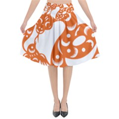 Chinese Zodiac Horoscope Snake Star Orange Flared Midi Skirt