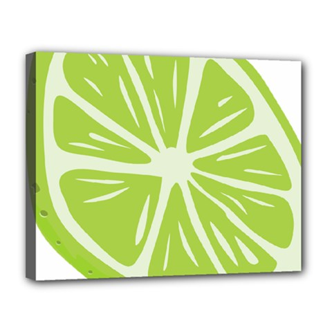 Gerald Lime Green Canvas 14  X 11  by Mariart