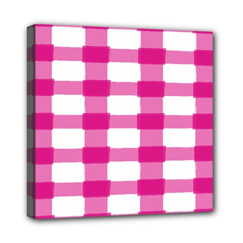 Hot Pink Brush Stroke Plaid Tech White Mini Canvas 8  X 8  by Mariart