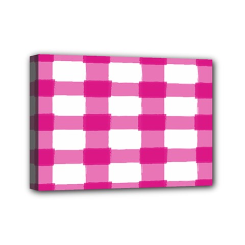 Hot Pink Brush Stroke Plaid Tech White Mini Canvas 7  X 5  by Mariart