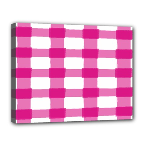 Hot Pink Brush Stroke Plaid Tech White Canvas 14  X 11  by Mariart