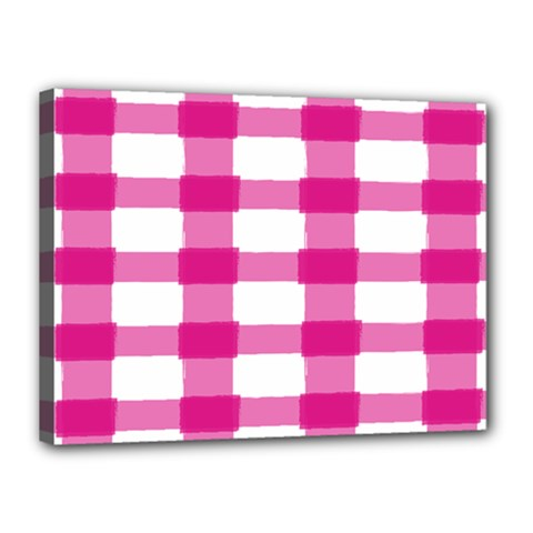 Hot Pink Brush Stroke Plaid Tech White Canvas 16  X 12  by Mariart