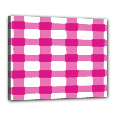 Hot Pink Brush Stroke Plaid Tech White Canvas 20  X 16  by Mariart