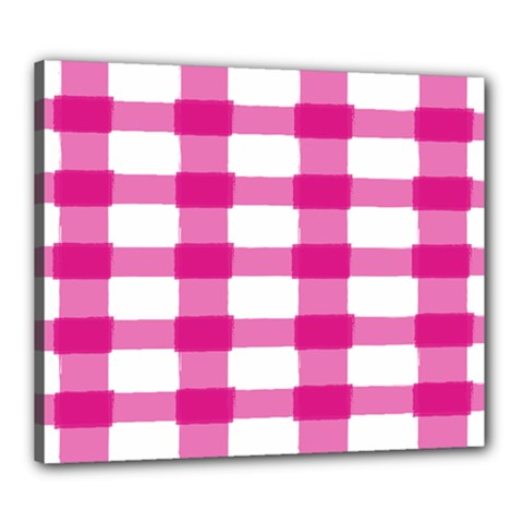 Hot Pink Brush Stroke Plaid Tech White Canvas 24  X 20  by Mariart