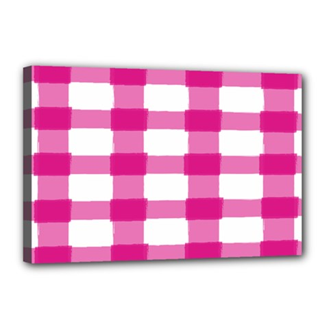 Hot Pink Brush Stroke Plaid Tech White Canvas 18  X 12  by Mariart