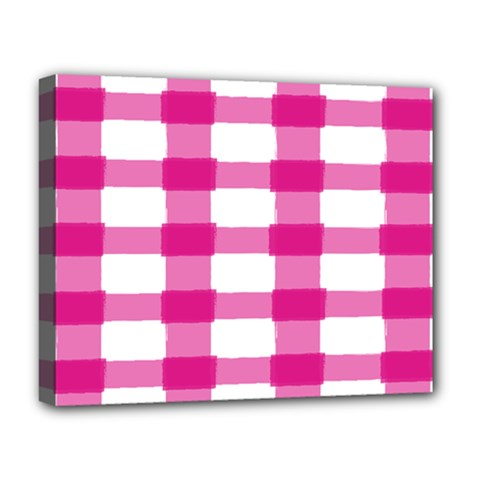 Hot Pink Brush Stroke Plaid Tech White Deluxe Canvas 20  X 16   by Mariart
