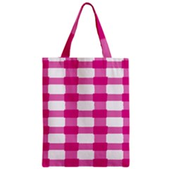 Hot Pink Brush Stroke Plaid Tech White Zipper Classic Tote Bag by Mariart