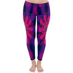 Flower Red Pink Purple Star Sunflower Classic Winter Leggings by Mariart