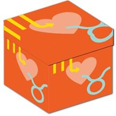 Illustrated Zodiac Love Heart Orange Yellow Blue Storage Stool 12   by Mariart