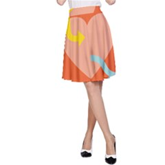 Illustrated Zodiac Love Heart Orange Yellow Blue A Line Skirt