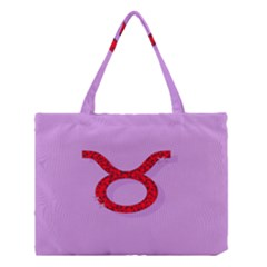 Illustrated Zodiac Purple Red Star Polka Circle Medium Tote Bag by Mariart