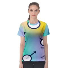 Illustrated Moon Circle Polka Dot Rainbow Women s Sport Mesh Tee by Mariart