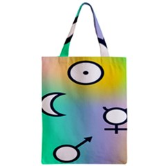 Illustrated Moon Circle Polka Dot Rainbow Zipper Classic Tote Bag by Mariart