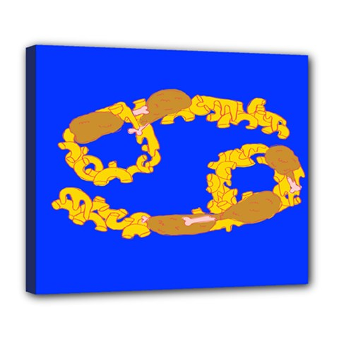Illustrated 69 Blue Yellow Star Zodiac Deluxe Canvas 24  X 20   by Mariart