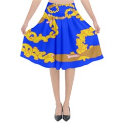 Illustrated 69 Blue Yellow Star Zodiac Flared Midi Skirt