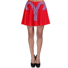 Illustrated Zodiac Red Star Purple Skater Skirt by Mariart