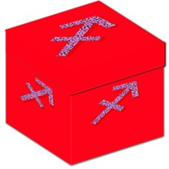 Illustrated Zodiac Star Red Purple Storage Stool 12   by Mariart