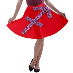 Illustrated Zodiac Star Red Purple A Line Skater Skirt by Mariart