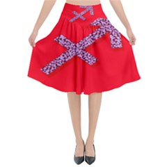 Illustrated Zodiac Star Red Purple Flared Midi Skirt