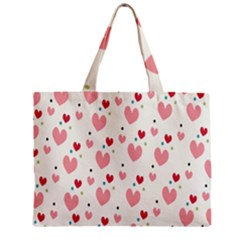 Love Heart Pink Polka Valentine Red Black Green White Zipper Mini Tote Bag by Mariart