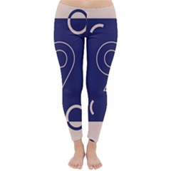Number 9 Blue Pink Circle Polka Classic Winter Leggings by Mariart