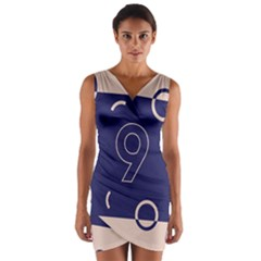 Number 9 Blue Pink Circle Polka Wrap Front Bodycon Dress