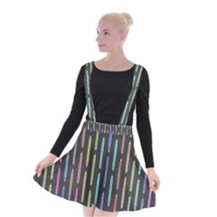 Pencil Stationery Rainbow Vertical Color Suspender Skater Skirt
