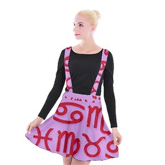 Illustrated Zodiac Red Purple Star Suspender Skater Skirt