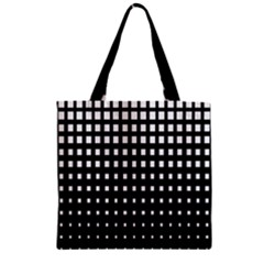 Plaid White Black Zipper Grocery Tote Bag by Mariart