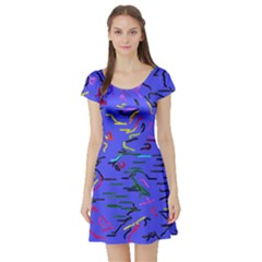 Paint Strokes On A Blue Background              Short Sleeve Skater Dress