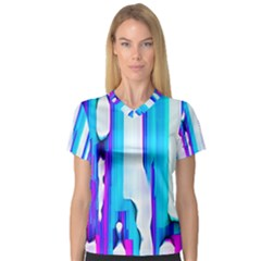 Blue Watercolors               Women s V Neck Sport Mesh Tee by LalyLauraFLM