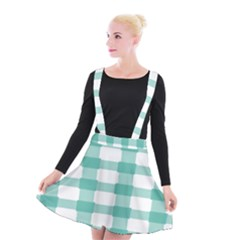Plaid Blue Green White Line Suspender Skater Skirt
