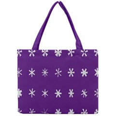 Purple Flower Floral Star White Mini Tote Bag by Mariart