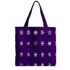 Purple Flower Floral Star White Zipper Grocery Tote Bag by Mariart